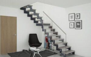 Металлическая лестница на косоурах, фото №3